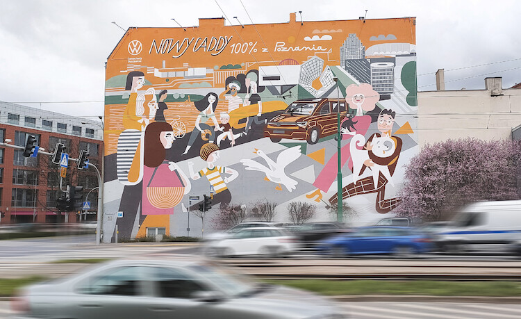 Volkswagen: nowy Caddy uwieczniony na poznańskim muralu!